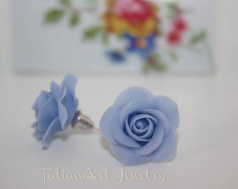 Purple-grey Rose Earrings stud,  Purple-grey floral earrings.  Post Purple-Grey Bridesmaid Earrings, Purple-Grey Rose Jewelry.