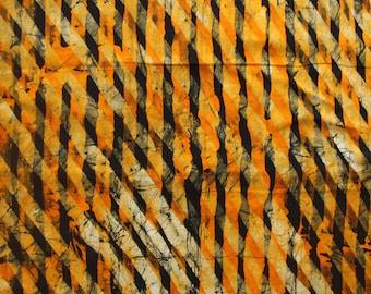 African Batik By the Yard, African wax resist fabric, Ghana Batik, Orange and black batik fabric, Handmade in Ghana, African dressmaking