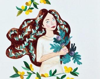 Nature Lady Original Portrait Illustration by Asma Original