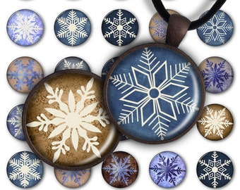 75% OFF SALE Snowflakes - Digital Collage Sheet PC050 1inch round 1inch circle 25 mm Christmas Pendant Printable Image Winter Jewelry Making