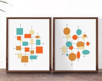 1960s Decor, Mid Century Modern Prints, Orange and Turquoise Blue Art, Set of Retro Prints, Wall Art Midcentury, Mid Century Modern Art Set