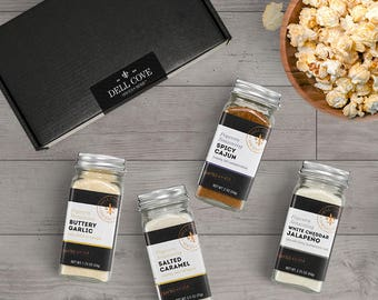 Movie Popcorn Seasoning Set Featuring Buttery Garlic, Salted Caramel, Spicy Cajun and White Cheddar Jalapeno