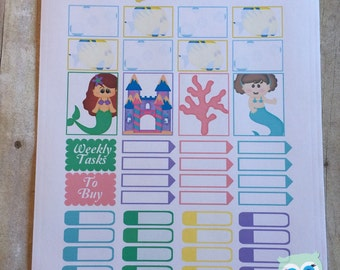 Sticker Sheet - Mermaids and Under the Sea Theme for your Personal Planner (full weekly package available in the shop)
