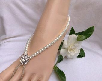 Wedding Barefoot Sandal White Pearl Foot Jewelry Wedding Barefoot Sandals, Beach Wedding, Swarovski