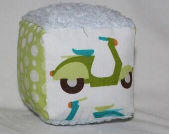 Small Organic Blue and Green Vespas Fabric Block Rattle