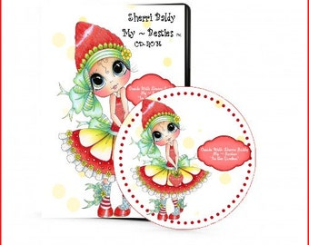 In The Garden CD ROM Digital Digi Stamps Color images Card toppers Papers and MORE 100s of Images Big Eyed Art My Bestie  By Sherri Baldy