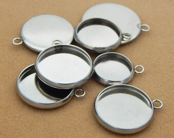 Stainless Steel Silver Tone Round Pendant Tray with Loop Cabochon Setting Blank Bezel Pendant Base 6 8 10 12 14 16 18 20 22 mm