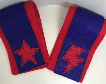 Superhero Cuffs - Customize and Personalize any colour - Red/Blue