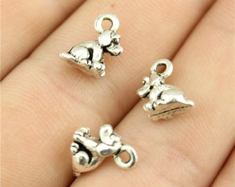 10 Tiny Dog Charms, Antique Silver Tone (1D-178)