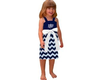 Navy + White Chevron Dress- Girls