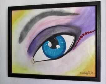 "Eye Make-Up  - 14"" x 11"" Framed Watercolor"