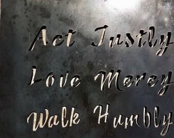 Act Justly, Love Mercy, Walk Humble Metal Art Wall Decor