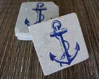 Tumbled Marble Anchor Coaster - Set of 4