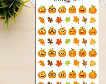 Cute Pumpkins Planner Stickers   Pumpkin Stickers   Autumn Stickers   Fall Stickers   Emoji Stickers   Emoticons Stickers (S-240)
