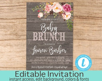 Rustic Baby Brunch Invitation, Pink Floral Watercolor Baby Brunch invitation, Editable Templett Invitation, Templett, Instant Download