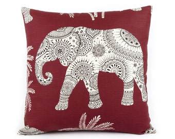 Red Elephant Pillow Cover, Elephant Pillow, Choose Your Size, Elephant Cushion, Red Throw Pillow, Nursery Pillow, Elephant in the Room