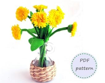 Felt Dandelion, Felt flower, Felt Flowers, Dandelion Pattern, Felt Pattern, Felt Dandelion Pattern, Felt Flowers Pattern, Dandelion Bouquet