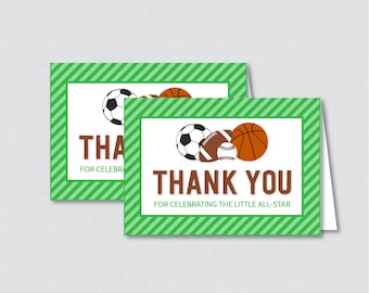 Printable Sports Themed Baby Shower Thank You Card - Printable Instant Download - Green Sports Themed Thank You Card - 0015-G