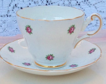 Pretty Pink Addiction-Grosvenor Jackson & Gosling Ltd  White Teacup and Saucer