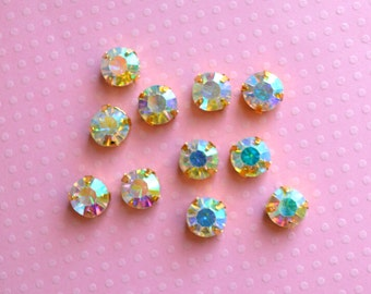 10mm AB Sew On Rhinestones in Gold Colored Settings.  AB Glass Rhinestones. 10 Pieces.