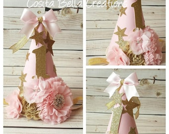 Twinkle Twinkle Little Star Birthday Party Hat,Pink and Gold Birthday Hat,pink birthday hat,cake smash,photo props,Princess Party Hat