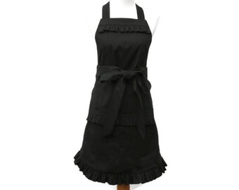 Plus Ruffled Black Apron, Plus Solid Black Apron, Plus Size Ruffled Black Apron, X-Large Dressy Black Apron, Plus Personalized Apron