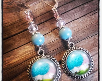 Cabochon dangle, Pearl Earrings / blue and white