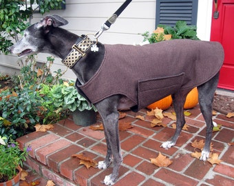 Greyhound Dog Coat, XL Dog Jacket, Brown & Black Houndstooth Print Flannel with Black Fleece Lining