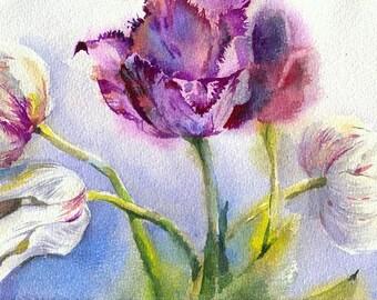 Tulip watercolor painting - flower watercolor original, paper. Flowers print, watercolor print