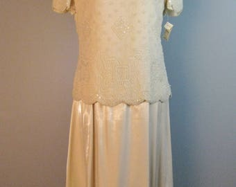 Ivory Beaded Ensemble / Vtg 80s / Never Worn Talbots Silk Beaded Top and Matching Skirt Size 8