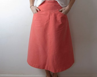 Vintage A-line Pink Cotton Skirt / UK 8 / EU 36