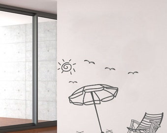 Sand Beach   Summer Vacation   Wall Decals   Living Room Decor   Bed Room  Decal