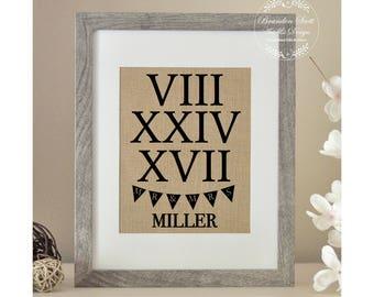Roman Numeral Wedding Gift, Bridal Shower Gift, Roman Numeral Sign, Roman Numeral Date, First Anniversary, Best Friend Wedding Gift, Holiday