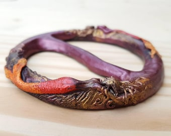 Twin Mermaid Scarf Slide, Scarf Ring, Shirt Slide, Shawl Ring in Fire colors, dark-skinned and red bronze