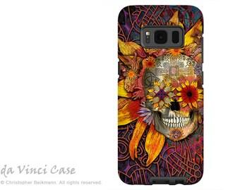 Sunflower Sugar Skull Case for Samsung Galaxy S8 PLUS - Day of the Dead Galaxy S 8 PLUS Case with Floral Skull Art - Origins Botaniskull