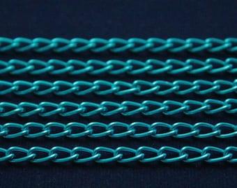 10 Meters ( 33 Feet ) 4x8 mm Aluminium Turquoise Chain