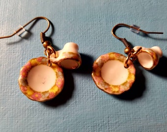 Tea cup and saucer earrings