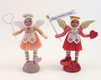 READY TO SHIP Vintage Inspired Spun Cotton Valentine Angel Figure