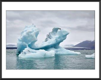 Glacier Lagoon - Iceberg - Blue Ice - Land of Fire and Ice - Iceland - Jökulsárlón - Color Photo Print - Fine Art Photography (IC10)