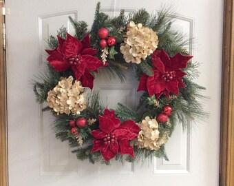 poinsettia Christmas wreath, hydrangea wreaths, rustic Christmas wreaths, winter wreaths, Christmas door wreaths, evergreen wreaths,
