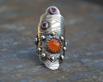 Sterling Silver Boho Saddle Ring Carnelian and Amethyst