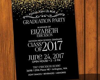 Graduation Party Invitation Template / Gold Glitter Graduation Template / Open House Invitation / High school / College / Party Invitation