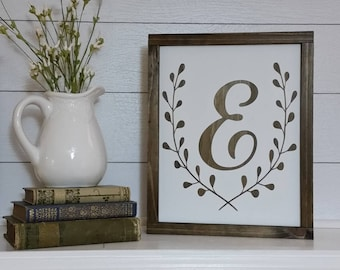 Personalized Letter Sign, Framed Wood Monogram, Custom Farmhouse Decor, Fixer Upper Style, Rustic Decor, Wedding Gift, Gift Under 40