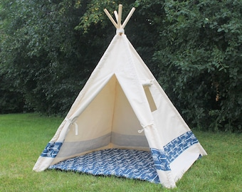 Color Block Canvas Teepee with Window, Kids Play Tent Playhouse, Choose Navy or Red Arrows or Solid Color Stripe, Can Include Mat