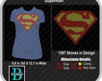 Superman rhinestone Digital Download, Supergirl,  rhinestone design