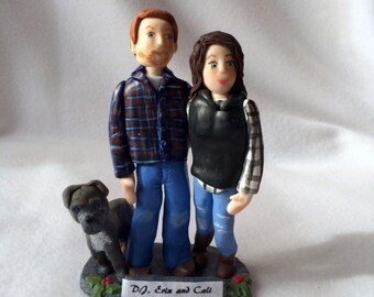 Custom Couple Polymer Clay Ornament, Custom Couple Figurine.   A Hand Crafted Clay Art Couple Sculpture