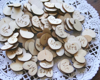 100 Wedding Confetti Wooden HEARTS, Wedding Decor, Rustic, Wood Hearts