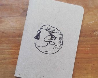 Man in the Moon Pocket Notepad - Hand Stamped - USA Made - 100% Recycled Paper