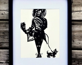 The dog walker, drawing black marker, puppy lover