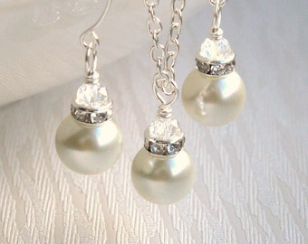 Ivory Bridesmaid Jewelry Set Ivory Pearl Bridesmaid Gift Set necklace earrings Ivory Jewelry Rhinestone Crystal Bridesmaid Proposal BS0265